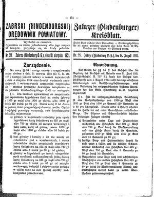 Zabrzer (Hindenburger) Kreisblatt vom 18.08.1921