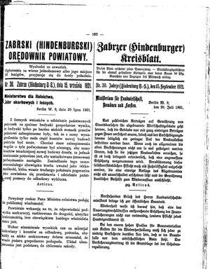 Zabrzer (Hindenburger) Kreisblatt vom 15.09.1921
