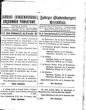 Zabrzer (Hindenburger) Kreisblatt vom 29.09.1921