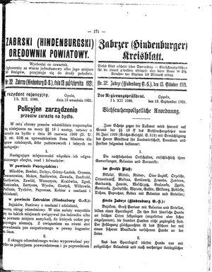 Zabrzer (Hindenburger) Kreisblatt vom 13.10.1921