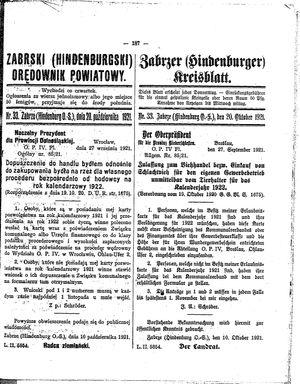 Zabrzer (Hindenburger) Kreisblatt vom 20.10.1921