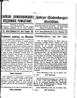 Zabrzer (Hindenburger) Kreisblatt vom 03.11.1921