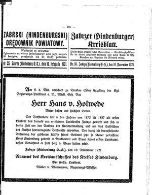 Zabrzer (Hindenburger) Kreisblatt vom 10.11.1921
