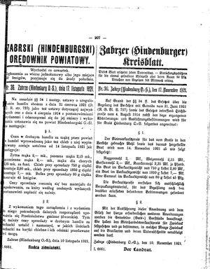Zabrzer (Hindenburger) Kreisblatt vom 17.11.1921