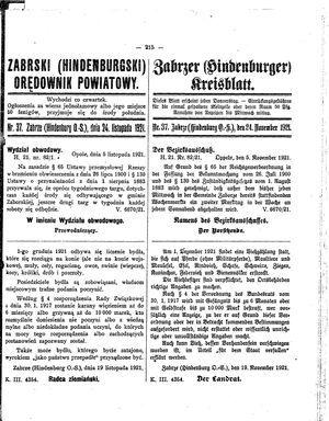 Zabrzer (Hindenburger) Kreisblatt vom 24.11.1921