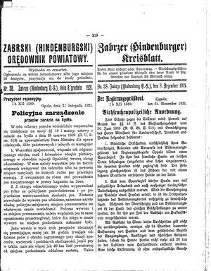 Zabrzer (Hindenburger) Kreisblatt vom 08.12.1921