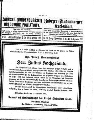 Zabrzer (Hindenburger) Kreisblatt vom 15.12.1921