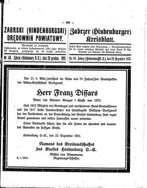 Zabrzer (Hindenburger) Kreisblatt vom 29.12.1921