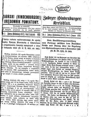 Zabrzer (Hindenburger) Kreisblatt vom 05.01.1922