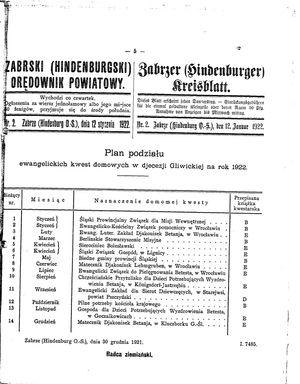 Zabrzer (Hindenburger) Kreisblatt vom 12.01.1922