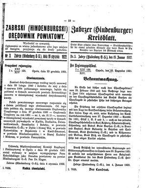 Zabrzer (Hindenburger) Kreisblatt vom 19.01.1922