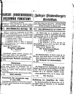 Zabrzer (Hindenburger) Kreisblatt vom 09.02.1922