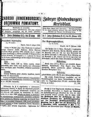 Zabrzer (Hindenburger) Kreisblatt vom 23.02.1922