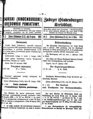 Zabrzer (Hindenburger) Kreisblatt vom 09.03.1922