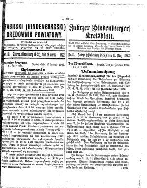 Zabrzer (Hindenburger) Kreisblatt vom 16.03.1922