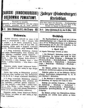Zabrzer (Hindenburger) Kreisblatt vom 23.03.1922