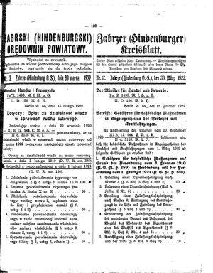 Zabrzer (Hindenburger) Kreisblatt vom 30.03.1922