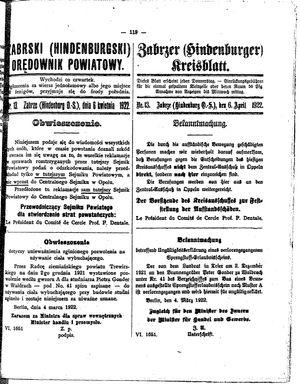Zabrzer (Hindenburger) Kreisblatt vom 06.04.1922
