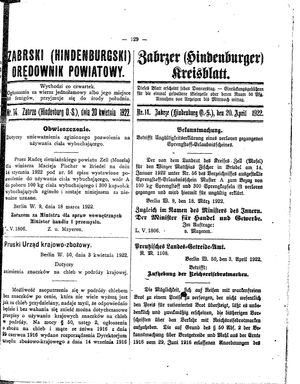 Zabrzer (Hindenburger) Kreisblatt vom 20.04.1922