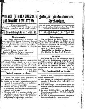 Zabrzer (Hindenburger) Kreisblatt vom 27.04.1922