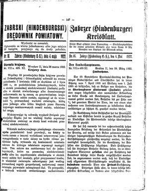 Zabrzer (Hindenburger) Kreisblatt vom 04.05.1922
