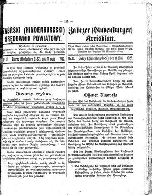 Zabrzer (Hindenburger) Kreisblatt vom 11.05.1922
