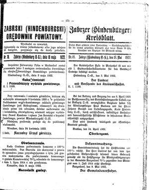 Zabrzer (Hindenburger) Kreisblatt vom 18.05.1922
