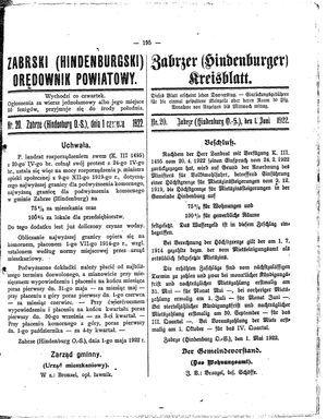 Zabrzer (Hindenburger) Kreisblatt vom 01.06.1922