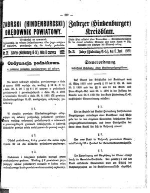 Zabrzer (Hindenburger) Kreisblatt vom 08.06.1922