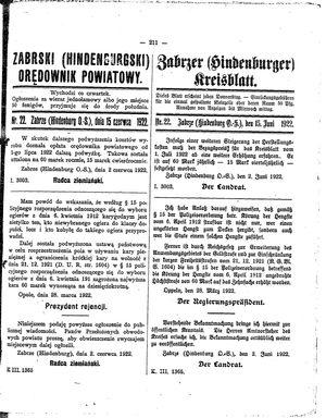 Zabrzer (Hindenburger) Kreisblatt vom 15.06.1922