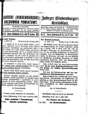 Zabrzer (Hindenburger) Kreisblatt vom 22.06.1922