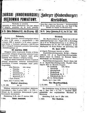 Zabrzer (Hindenburger) Kreisblatt vom 30.06.1922