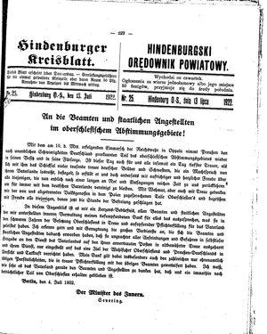 Zabrzer (Hindenburger) Kreisblatt vom 13.07.1922