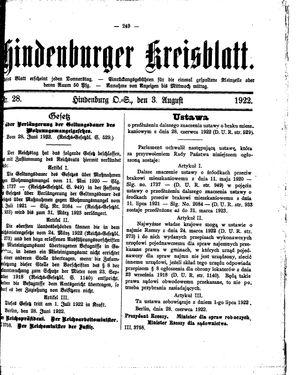 Zabrzer (Hindenburger) Kreisblatt vom 03.08.1922