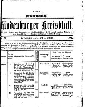 Zabrzer (Hindenburger) Kreisblatt vom 09.08.1922
