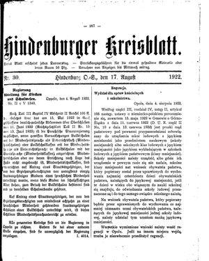 Zabrzer (Hindenburger) Kreisblatt vom 17.08.1922