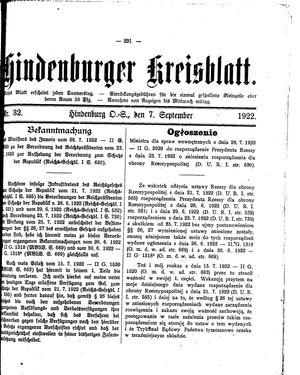 Zabrzer (Hindenburger) Kreisblatt vom 07.09.1922