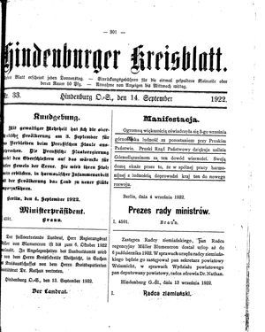 Zabrzer (Hindenburger) Kreisblatt vom 14.09.1922
