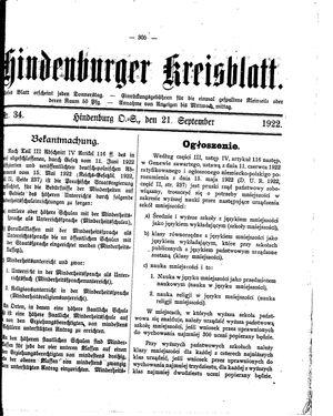 Zabrzer (Hindenburger) Kreisblatt vom 21.09.1922