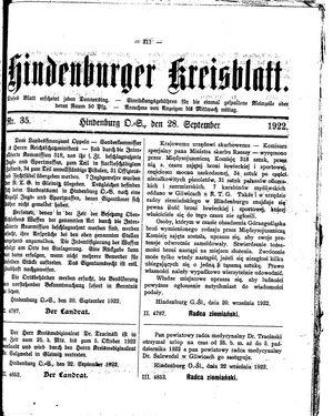 Zabrzer (Hindenburger) Kreisblatt vom 28.09.1922