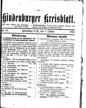 Zabrzer (Hindenburger) Kreisblatt vom 05.10.1922