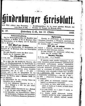 Zabrzer (Hindenburger) Kreisblatt vom 12.10.1922
