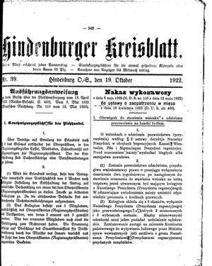 Zabrzer (Hindenburger) Kreisblatt vom 19.10.1922
