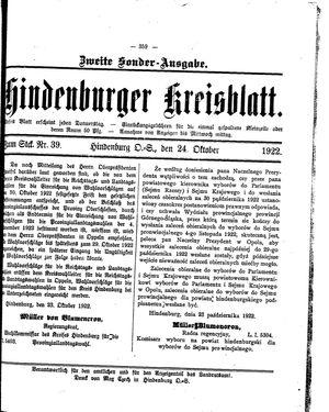 Zabrzer (Hindenburger) Kreisblatt vom 24.10.1922