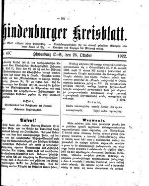 Zabrzer (Hindenburger) Kreisblatt vom 26.10.1922