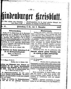Zabrzer (Hindenburger) Kreisblatt vom 02.11.1922