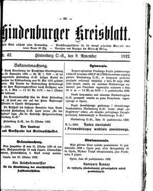 Zabrzer (Hindenburger) Kreisblatt vom 09.11.1922