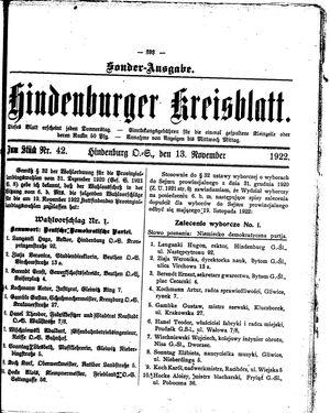 Zabrzer (Hindenburger) Kreisblatt vom 13.11.1922