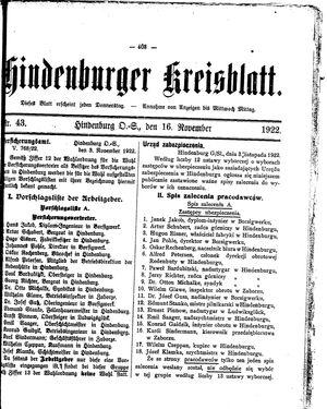 Zabrzer (Hindenburger) Kreisblatt vom 16.11.1922