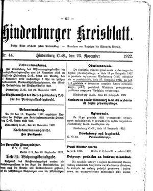 Zabrzer (Hindenburger) Kreisblatt vom 23.11.1922